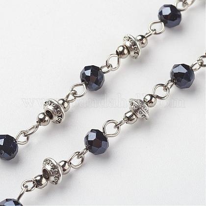 Handmade Electroplate Glass Beaded ChainsAJEW-JB00264-04-1