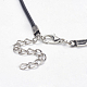 Black Imitation Leather Cord Necklace MakingX-PJN472Y-3