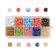 10 Colors Spray Painted Glass Beads, Dyed, Round, Mixed Color, 6mm, Hole: 1.3~1.6mm; about 70~75pcs/comparment, 700~750pcs/box