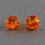 Handmade Glass Beads, Faceted Rondelle, OrangeRed, 6x4mm, Hole: 1mm; about 90~93pcs/strand