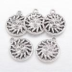 Alloy Pendants, Lead Free and Nickel Free, Sun, Antique Silver, 20x17x2.5mm, Hole: 2mm