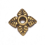 Tibetan Silver Bead Caps, Lead Free & Cadmium Free, Antique Golden, about 6mm long, 6mm wide, 2mm high, Hole: 2mm