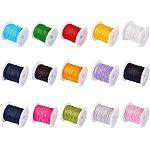 PandaHall 15 Colors 0.8mm Rattail Satin Nylon Trim Cord Chinese Knot Kumihimo String, 15 x 11 Yard