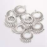 Tibetan Style Links, Lead Free and Cadmium Free, Flat Round, Antique Silver, about 37.5mm long, 29mm wide, 1mm thick, hole: 2.5mm