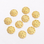 Brass Bead Caps, Multi-Petal, Real 18K Gold Plated, 8x3mm, Hole: 1mm