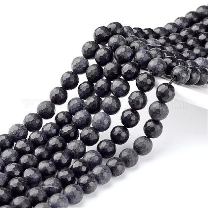 Cuentas de piedras naturales negras hebrasG-G542-10mm-04-1