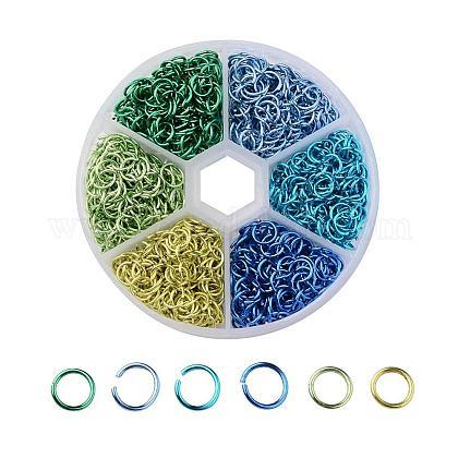 6 colores anillos de salto abierta de alambre de aluminioALUM-JP0001-01A-1