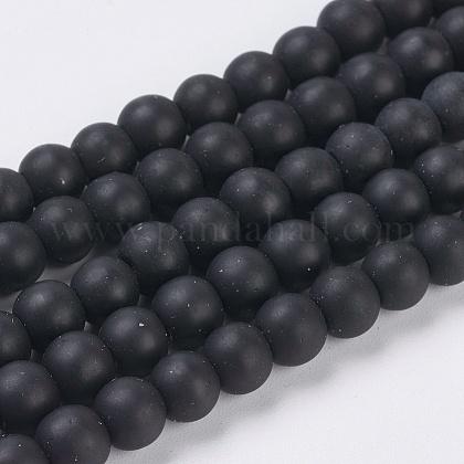 Sintéticas cuentas de piedras negras hebrasG-G508-7-1