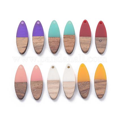 Colgantes de resina y madera de nogal de 6 coloresRESI-X0001-32-1
