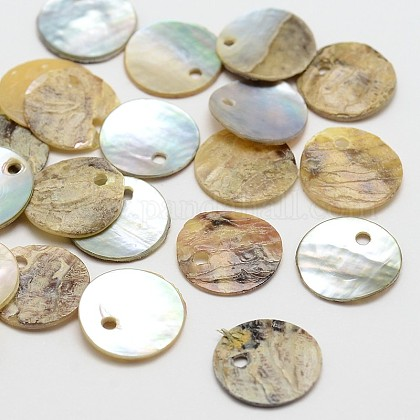 Flache runde natürliche Akoya-MuschelanhängerSHEL-N031-13-1