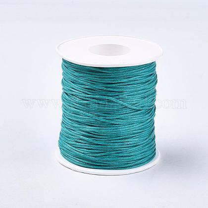 Waxed Cotton Thread Cords, Teal, 1mm; 100yards/roll(300 feet/roll) YC-R003-1.0mm-275