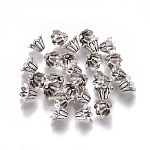 Tibetan Style Bead Caps, Lead Free & Cadmium Free & Nickel Free, Cone, Antique Silver, about 7mm in diameter, 5mm thick, hole: 1mm