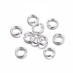 304 Stainless Steel Jump Rings, Open Jump Rings, Silver Color Plated, 20 Gauge, 4x0.8mm; Inner Diameter: 2.5mm