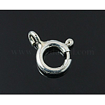 Sterling Silver Spring Ring Clasps, Silver, 7mm