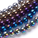 Carnival Celebrations, Mardi Gras Beads, Electroplate Glass Bead Strands, Round, Mixed Color, 8mm; Hole: 1mm, about 40pcs/strand, 12.6 inches