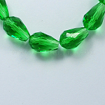 Glass Beads Strands, Faceted, Drop, Green, 11x8mm, Hole: 1mm; about 60pcs/strand, 28