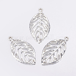 Alloy Pendants, Lead Free and Nickel Free, Leaf, Silver Color Plated, 49.5x27.5x2mm, Hole: 3.5mm