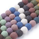 天然石ラバストーンラウンドビーズ連売り, 染め, ミックスカラー, 12mm, 穴:約2.5~3mm、約35個/連, 15