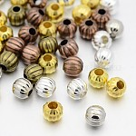 Iron Corrugated Beads, Round, Mixed Color, 8mm, Hole: 3mm; about 354pcs/200g
