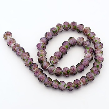 Lavender Handmade Gold Sand Lampwork Rondelle Beads Strands, Faceted, Lavender, 10x7mm, Hole: 2mm; about 50pcs/strand, 13.77""