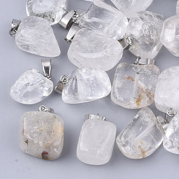 Natural Quartz Crystal Pendants, with Stainless Steel Snap On Bails, Nuggets, 15~35x10~20x5~15mm, Hole: 3x7.5mm