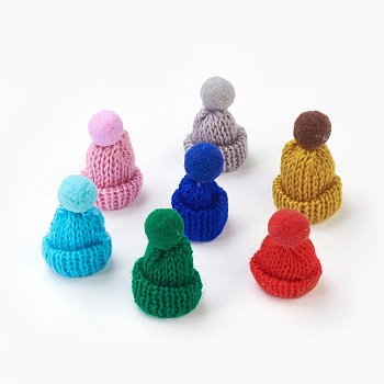 Handmade Wool Woven Hat Decoration, DIY Craft Decoration, with Pom Pom Ball, Mixed Color, 33~38x45~50mm