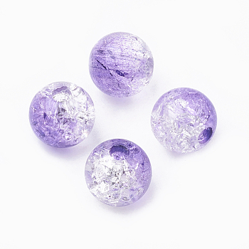 Lilac Acrylic Beads, Transparent Crackle Style, Round, Lilac, 8x7mm, Hole: 2mm; about 1840pcs/500g