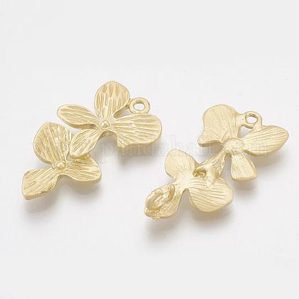 滑らかな表面合金リンク  花  マットゴールドカラー  26.5x14.5x3mm  穴:1.4~2.5mmX-PALLOY-S117-023-1