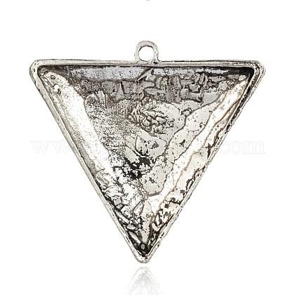 三角形アンティークシルバーメッキ合金の猫の目の大きなペンダントPALLOY-J578-01AS-1