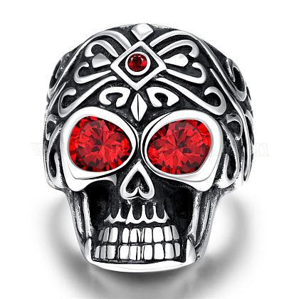 Punk Skull Stainless Steel Cubic Zirconia Rings for MenRJEW-BB03807-12-1