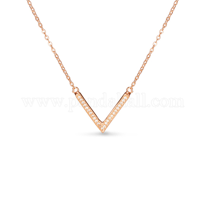 TINYSAND® Holiday Gift 925 Sterling Silver CZ Rhinestone V-Shaped Pendant NecklacesTS-N217-RG-1