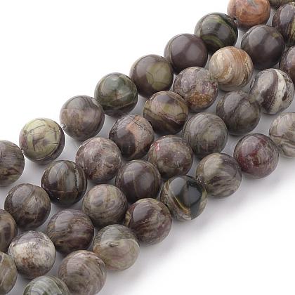 Naturelles fleurs agate perles brinsG-Q462-6mm-34-1