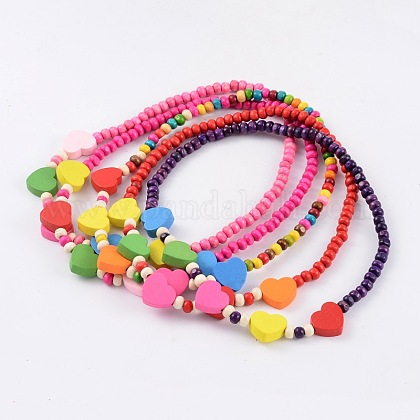 Lovely Heart Wood Beaded Kids Necklaces NJEW-JN01347-1