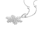 TINYSAND® Christmas Sterling Silver Cubic Zirconia Snowflake Pendant Necklace TS-N007-S-19-2