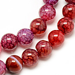Natural Dragon Veins Agate Beads Strands, Dyed, Round, Crimson, 8mm, Hole: 1mm; about 48pcs/strand, 14.96inches