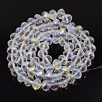 Handmade Glass Beads, Faceted Round, Clear AB, AB Color Plated, 10mm in diameter, 7mm thick, hole:1mm
