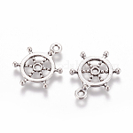 Tibetan Style Alloy Pendants, Rudder/Helm, Antique Silver, Lead Free, Nickel Free and Cadmium Free, 21x15.5x2mm, Hole: 2mm