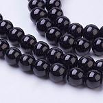 Abalorios de abalorios de vidrio pintadas, pintura para hornear, redondo, negro, 8mm, agujero: 1.3~1.6 mm; aproximamente 100 unidades / cadena, 31.4