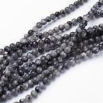 Perles de labradorite naturelle, ronde, environ 4 mm, trou: 0.8mm; environ 91 pcs/chapelet, 15.5