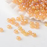 Perles de rocaille en verre fgb® 12/0, Grade a, couleurs transparentes arc, blé, 2x1.5mm, trou: 0.5 mm; environ 45000 pièces / livre