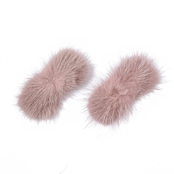 Rosy Brown Faux Mink Fur Rectangle Decoration, Pom Pom Ball, for DIY Bowknot Hair Accessories Craft, Rosy Brown, 8~8.5x3.7~4cm; about 21pcs/board
