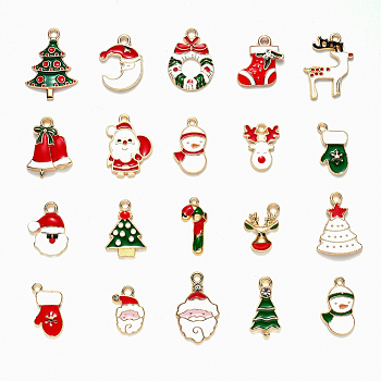 Colgantes de esmalte de aleación, para la Navidad, la luz de oro, color mezclado, 17~29x11~18.5x1~6mm, agujero: 1.4~2 mm, 20 PC / sistema