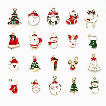 Alloy Enamel Pendants, for Christmas, Light Gold, Mixed Color, 17~29x11~18.5x1~6mm, Hole: 1.4~2mm; 20pcs/set
