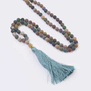 Indian Agate Natural Indian Agate Buddha Pendant Necklaces, with Alloy Findings and Nylon Tassels, Frosted, 109 Beads, 39.3 inches (100cm), Pendant: 115mm long