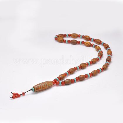 仏教アクセサリー天然石チベット瑪瑙ビーズネックレスNJEW-F131-04-1