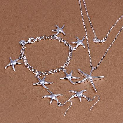 Conjuntos de joyería de fiesta de latón plateado color plataSJEW-BB11468-1