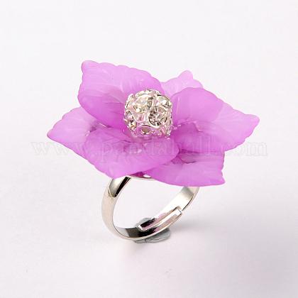 Flor de acrílico anillos ajustablesRJEW-JR00078-02-1