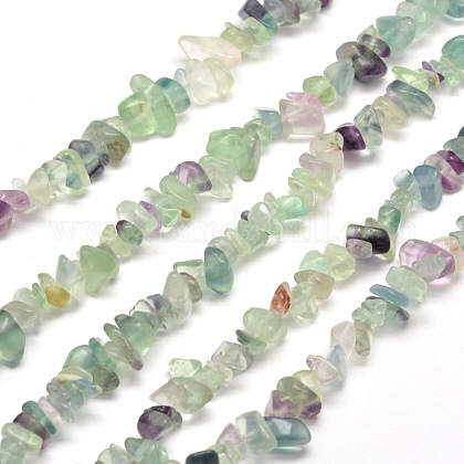 Natural Fluorite Chip Bead Strands G-M205-08-1