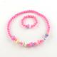 Flower Acrylic Pendant Necklaces and Stretch Bracelets Jewelry SetsSJEW-R048-04-3
