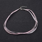 Jewelry Making Necklace Cord, Organza Ribbon & Waxed Cotton Cord & Platinum Color Iron Clasp, Pearl Pink, 430x6mm